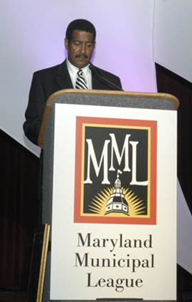 MML President and Councilman Stewart Cumbo Speaking before the Membership of the Maryland Municipal League at the Convention in Ocean City, Maryland